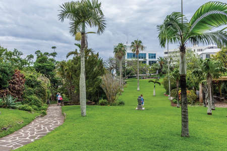 HAMILTON,BERMUDA, MAY 25 - Beautiful Queens Park and surrounding buildings on an overcast day on May 25 2016 in Hamilton Bermuda.