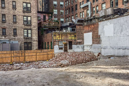 NEW YORK-JULY 24: An open lot where a building was recently demolished on July 24 2015 in midtown Manhattan.