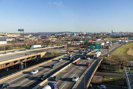 NEWARK, NEW JERSEY - APRIL 20 - A wide angle view of the New Jersey Turnpike on April 20 2018 in Newark New Jersey. Sajtókép
