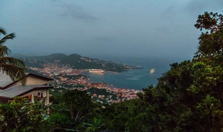 A scenic overlook just aver dusk on St Thomas in the US Virgin Islands. Editoriali