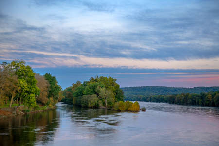 An early morning view of the Delaware River near Washington Crossing in Bucks County Pennsylvania. Stock Photo
