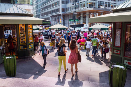 NEW YORK-JUNE 9: A crowd of people near Bryant Park and 6th Avenue on June 9, 2015 in midtown Manhattan.