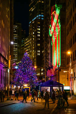 NEW YORK-DECEMBER 4: The Christmas tree on Wall St at night on December 4 2018 in New York City.