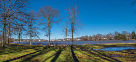 A panoramic view of Manalapan Lake in Thompson Park in Middlesex County NJ.