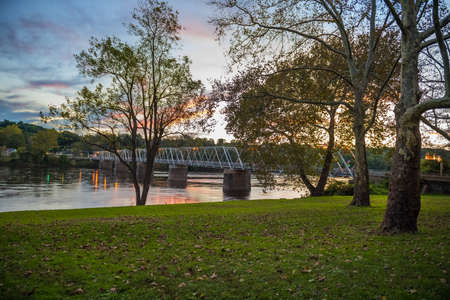 An early morning sunrise view of the Washington Crossing Bridge over the Delaware River between New Jersey and Pennsylvania.
