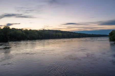 The Delaware River between New Jersey and Pennsylvania at the break of dawn.