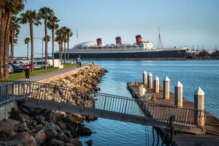 The Queen Mary in Long Beach Harbor in California.