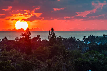 A dramatic sunrise over the sea in Fort Lauderdale Florida. Stock fotó
