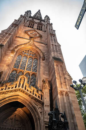 The historic Trinity Church on Wall St and Broadway in lower Manhattan. Stock Photo