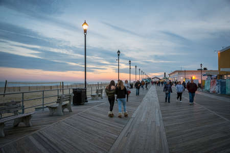 ASBURY PARK, NEW JERSEY - NOVEMBER 25: The Asbury Park boardwalk after sunset on November 25 2017 in Monmouth County New Jersey. Editöryel