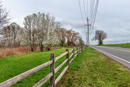 A country road through Monmouth Battlefield State Park in Freehold NJ.