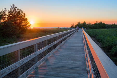 A wooden footbrdge at dusk in the Sandy Hook National Recreation Area along the Jersey shore. 写真素材