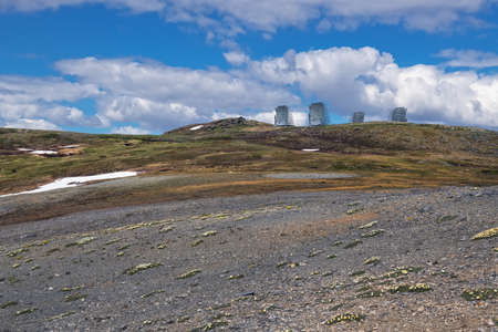 The 1950's Air Force constructed communications system remains on Anvil Mountain in Nome Alaska.