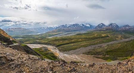 A panoramic view of Denali National Park and the Alaska Range.