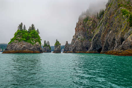 Rock formations in Aialik Bay in Fjords National Park in Alaska.