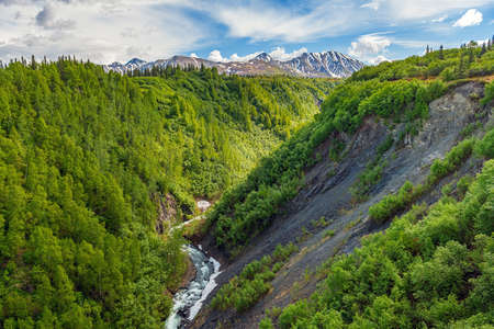 A scenic view of Hurricane Gulch between Anchorage and Denali National Park in Alaska. Stok Fotoğraf