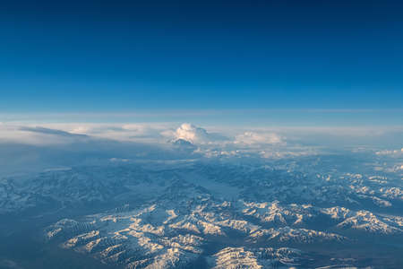 An aerial view of the Seward Peninsula Mountain Range in Alaska. Banque d'images