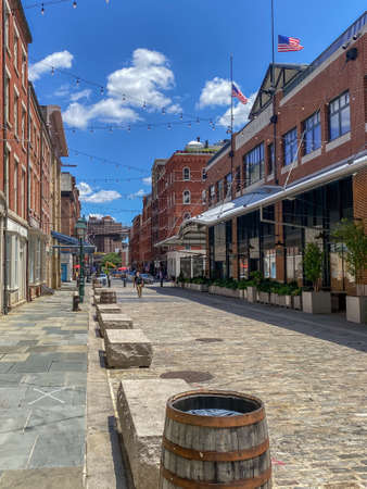 NEW YORK-JULY 14: Empty cobblestone streets near the  Fulton St Seaport area during COVID 19 on July 14 2020 in lower Manhattan.