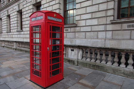 phone booth: Red phone booth in London Stock Photo