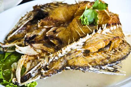 Bass deep fried with fish sauce