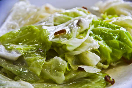 Fried cabbage in fish sauce Stock Photo