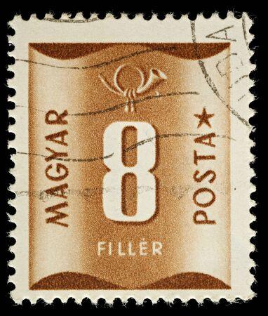 Ungheria - CIRCA 1951: Un Timbro ungherese Postage Usato mostrando 8 di riempimento, circa 1951 Editoriali
