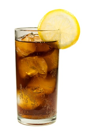 Glass of Cola with Ice and Lemon Isolated on White Background Stock Photo