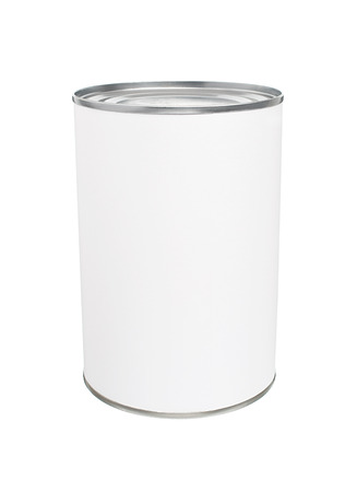 Food Tin Can with Blank White Label photo