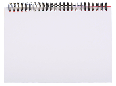 bound: Blank White Page of Spiral Bound Notepad Isolated on White Stock Photo