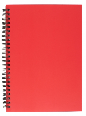 Red Covered Spiral Bound Notepad Isolated on White
