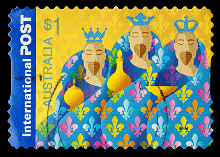 AUSTRALIA - CIRCA 2004  An Australian Used Christmas Postage Stamp showing the Three Kings, circa 2004 Editorial
