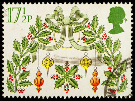 stamp collecting: UNITED KINGDOM - CIRCA 1980   A British Used Postage Stamp showing Christmas Decorations, circa 1980