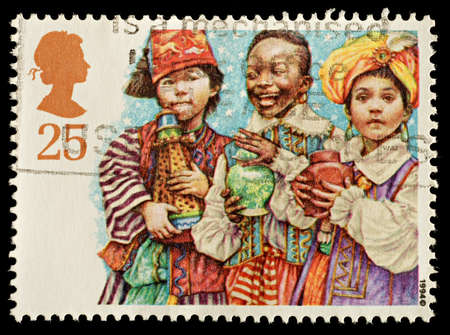 UNITED KINGDOM - CIRCA 1994  A British Used Christmas Postage Stamp showing Three Kings Nativity Scene, circa 1994