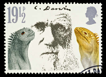 UNITED KINGDOM - CIRCA 1981  A British Used Postage Stamp Showing Charles Darwin and Marine Iguanas, circa 1981 Editorial