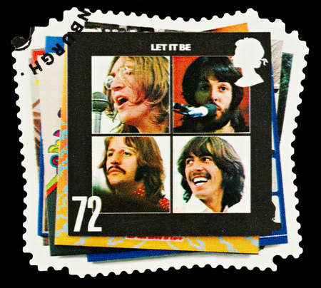 UNITED KINGDOM - CIRCA 2007  A British Used Postage Stamp showing The Beatles Pop Group Album Cover, circa 2007 Editorial