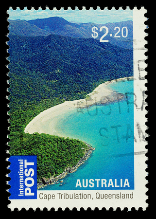 tribulation: AUSTRALIA - CIRCA 2010: An Australian Used Postage Stamp showing Cape Tribulation in Queensland, circa 2010