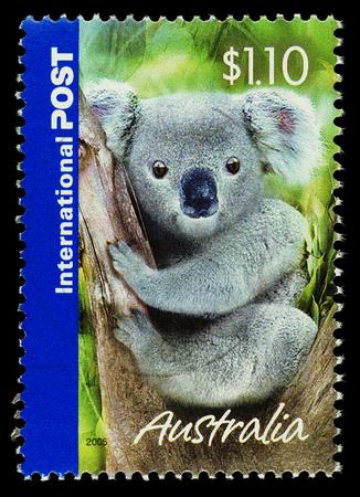 AUSTRALIA - CIRCA 2005: An Australian Used Postage Stamp showing a Koala Bear, circa 2005  Editorial