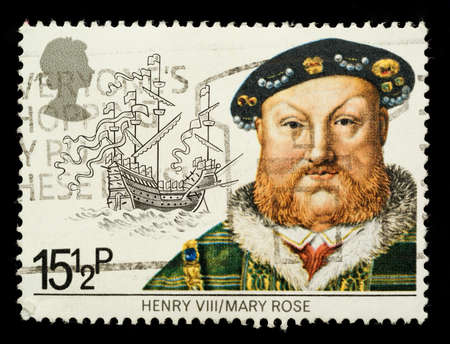 viii: UNITED KINGDOM - CIRCA 1982: A British Used Postage Stamp Depicting Maritime Heirtage showing Henry VIII and the Mary Rose , circa 1982