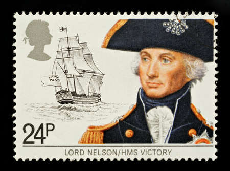 hms: UNITED KINGDOM - CIRCA 1982: A British Used Postage Stamp Depicting Maritime Heirtage showing Lord Nelson and HMS Victory , circa 1982 Editorial