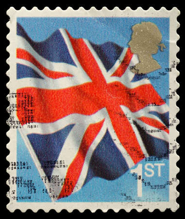 UNITED KINGDOM - CIRCA 2001: An English Use First Class Postage Stamp showing Union Jack Flag, circa 2001