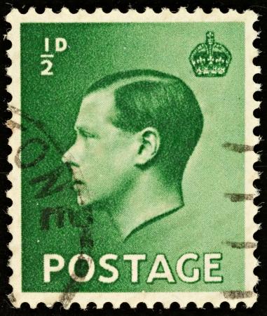 king edward: UNITED KINGDOM - CIRCA 1936: An English Half Pence Green Used Postage Stamp showing Portrait of King Edward VIII, circa 1936