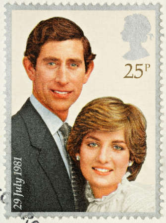 lady diana: UNITED KINGDOM - CIRCA 1981: A British Used Postage Stamp celebrating the Royal Wedding of Prince Charles and Lady Diana Spencer, circa 1981