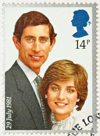 prince charles of england: UNITED KINGDOM - CIRCA 1981: A British Used Postage Stamp celebrating the Royal Wedding of Prince Charles and Lady Diana Spencer, circa 1981