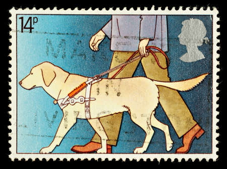 commemorating: UNITED KINGDOM - CIRCA 1981: A British Used Postage Stamp Commemorating The Year of the Disabled Showing Guide Dog for the Blind, circa 1981
