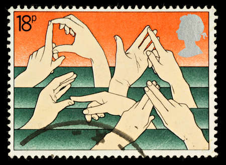UNITED KINGDOM - CIRCA 1981: A British Used Postage Stamp Commemorating The Year of the Disabled Showing Sign Language, circa 1981