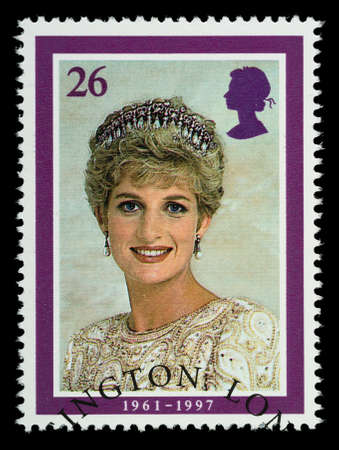 lady diana: UNITED KINGDOM - CIRCA 1998  British Used Postage Stamp showing Diana Princess of Wales, circa 1998