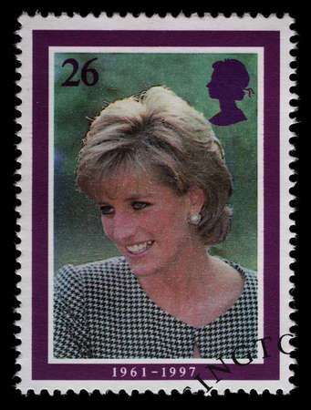 spencer: UNITED KINGDOM - CIRCA 1998  British Used Postage Stamp showing Diana Princess of Wales, circa 1998