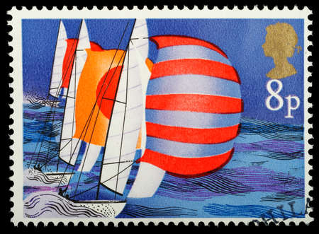 UNITED KINGDOM - CIRCA 1975   A British Used Postage Stamp showing Racing Keelboats, circa 1975