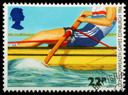 rower: UNITED KINGDOM - CIRCA 1986   A British Used Postage Stamp showing Rowing, circa 1986