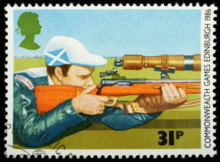 UNITED KINGDOM - CIRCA 1986 : A British Used Postage Stamp showing Rifle Shooting, circa 1986